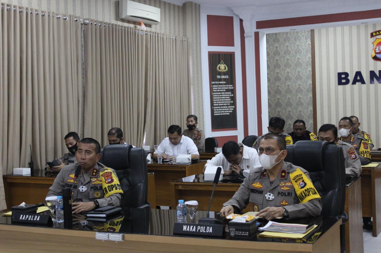 Kapolda Banten Pimpin Anev Ops Aman Nusa II Secara Virtual