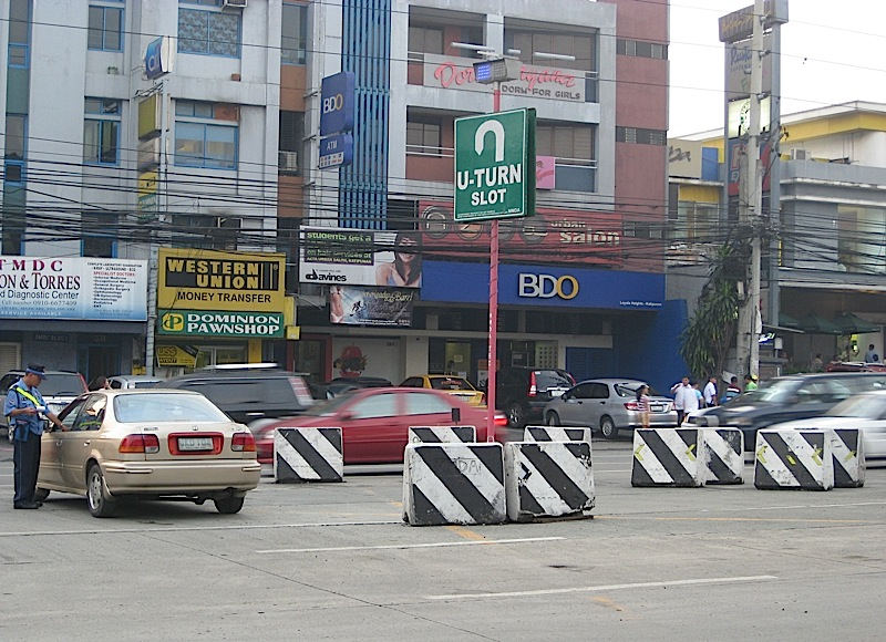 U-turn along Katipunan Avenue