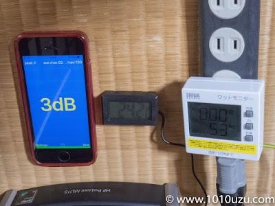 デフォルト構成・起動前:3dB・24.2℃・5.3W