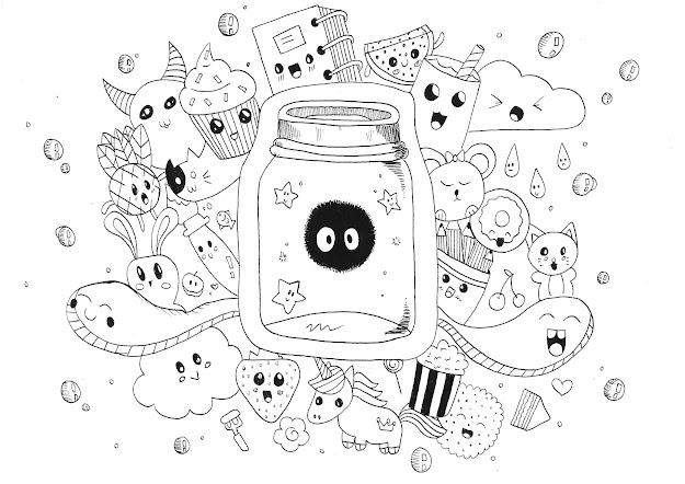 Coloringpageadultskawaiidoodlerachel Free To Print Cute Monsters