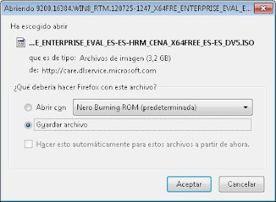 Descarga del fichero ISO de Microsoft Windows 8