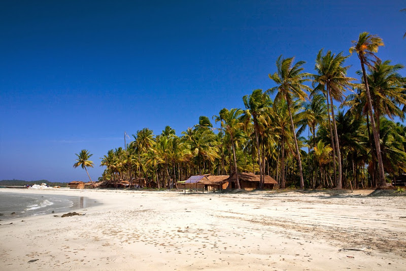 Ngwe Saung, a Myanmar beach backed by coconut palms