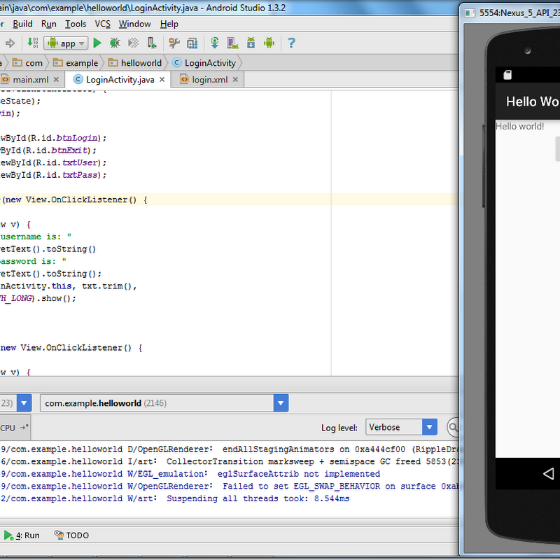 First App Android: How To Create An Android App With Android Studio (Hello World and Simple Login with Toast)