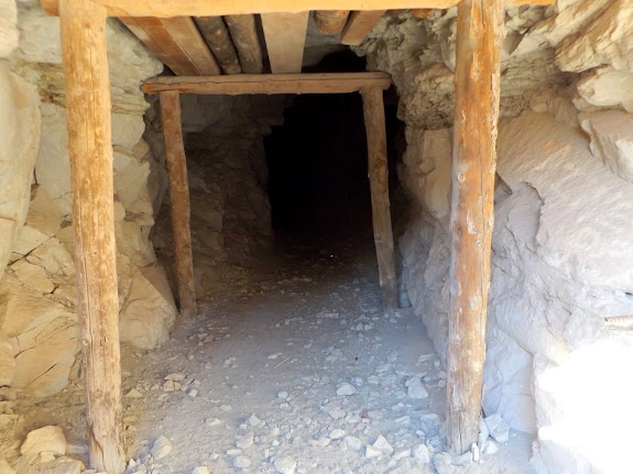 Mine shaft at Temple Mountain