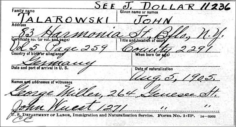 TALAROWSKI_John_naturalization card_1905 - Copy