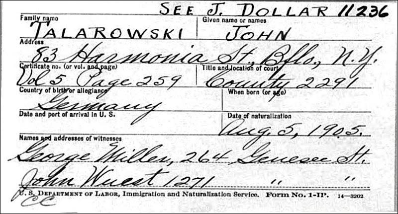 TALAROWSKI_John_naturalization card_1905 - Copy