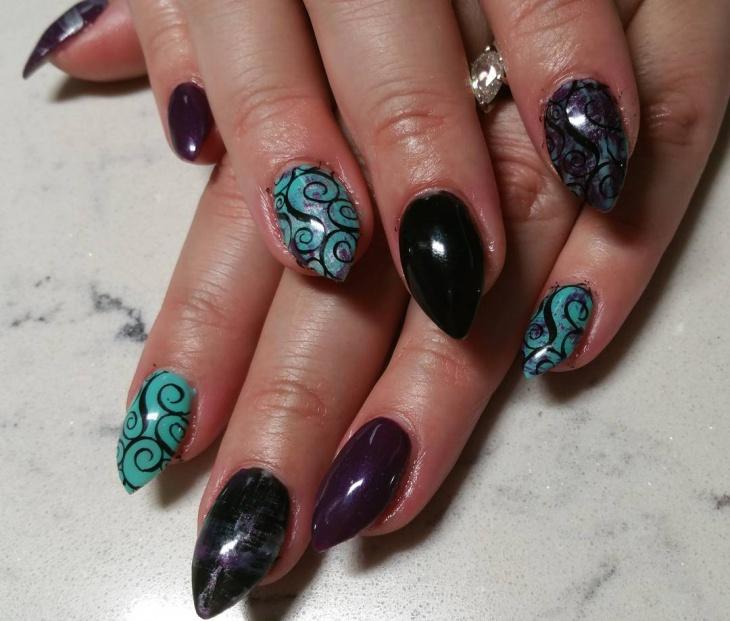 Modern Nail Art Swirl Vignette - Nail Paint Design Ideas ...