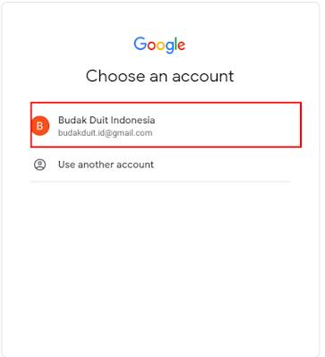 Pilih Akun Email Yang Sudah Anda Buat Sebelumnya
