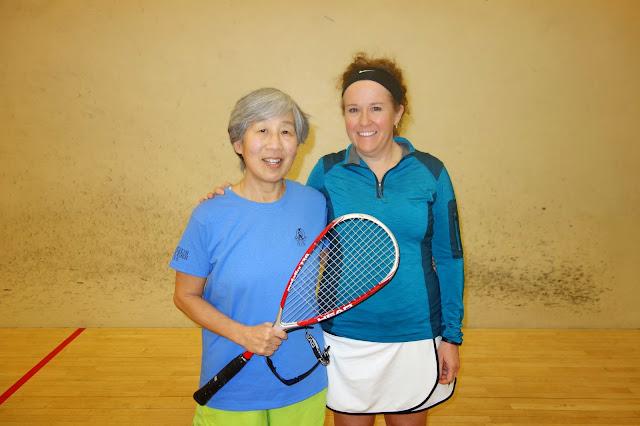 Women 40+ semifinalist Mary Ni and winner Rhonda Lake