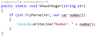 Visual Studio 2015 usando inline out vars