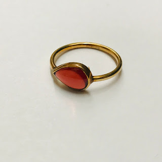14K Gold & Red Stone Ring