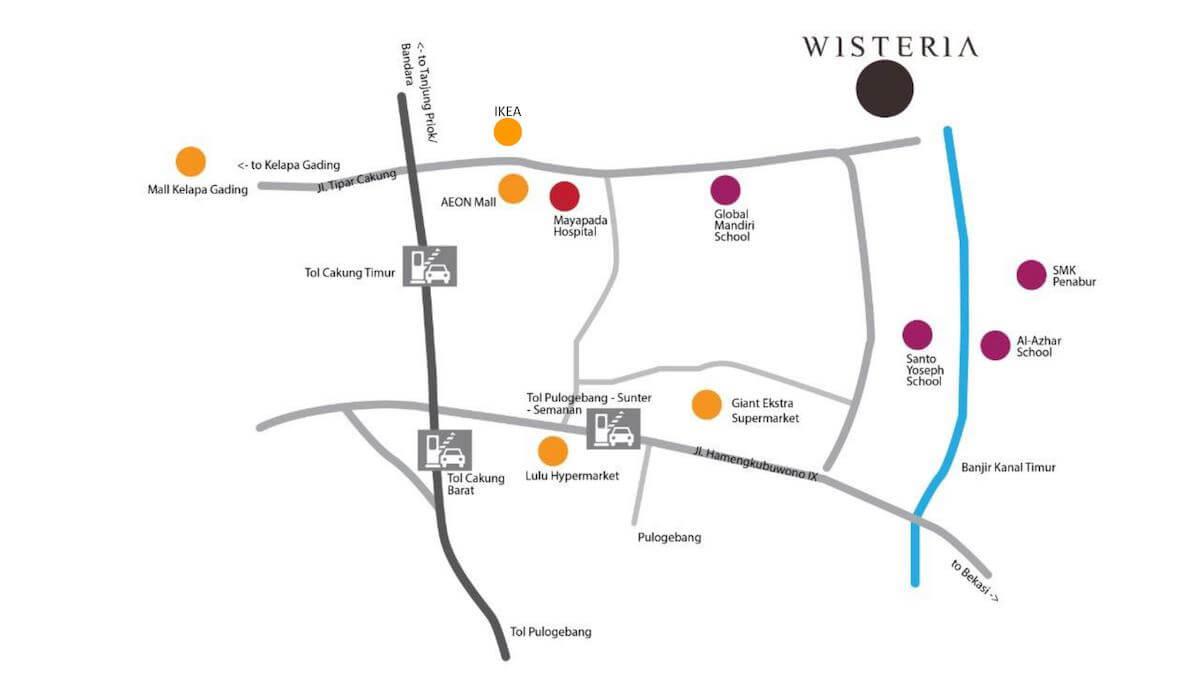 Peta Lokasi Wisteria Metland