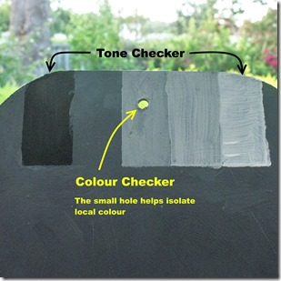 Close up of simple tonal & colour checker tools