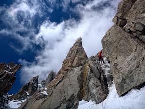 Descente en rappels face sud, (relais montagne), derrière le Grand Capucin