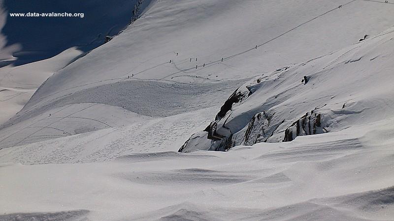 Avalanche Haute Maurienne, secteur Albaron, Itinéraire de montée par le Glacier des Evettes - Corniche Selle de l'Albaron - Photo 1