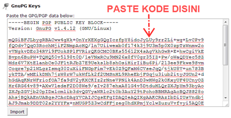 Paste kode GnuPG Public Key pada box yang telah disediakan