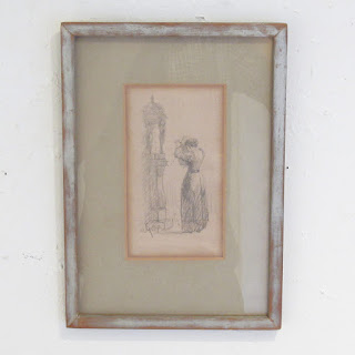 Signed Woman and Child Drawing