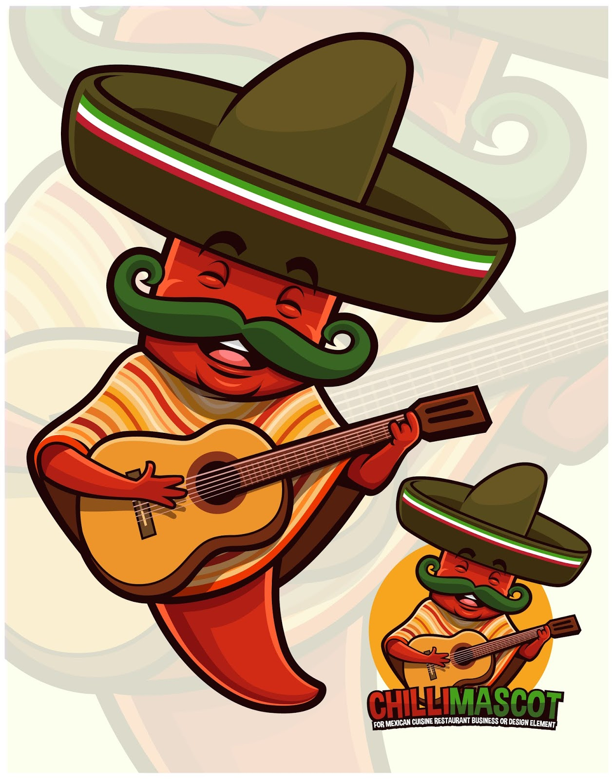 Chili Pepper Mascot Wearing Mexican Outfit.jpg Free Download Vector CDR, AI, EPS and PNG Formats