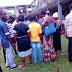 PDP supporters pictured praying at a polling unit in Edo state