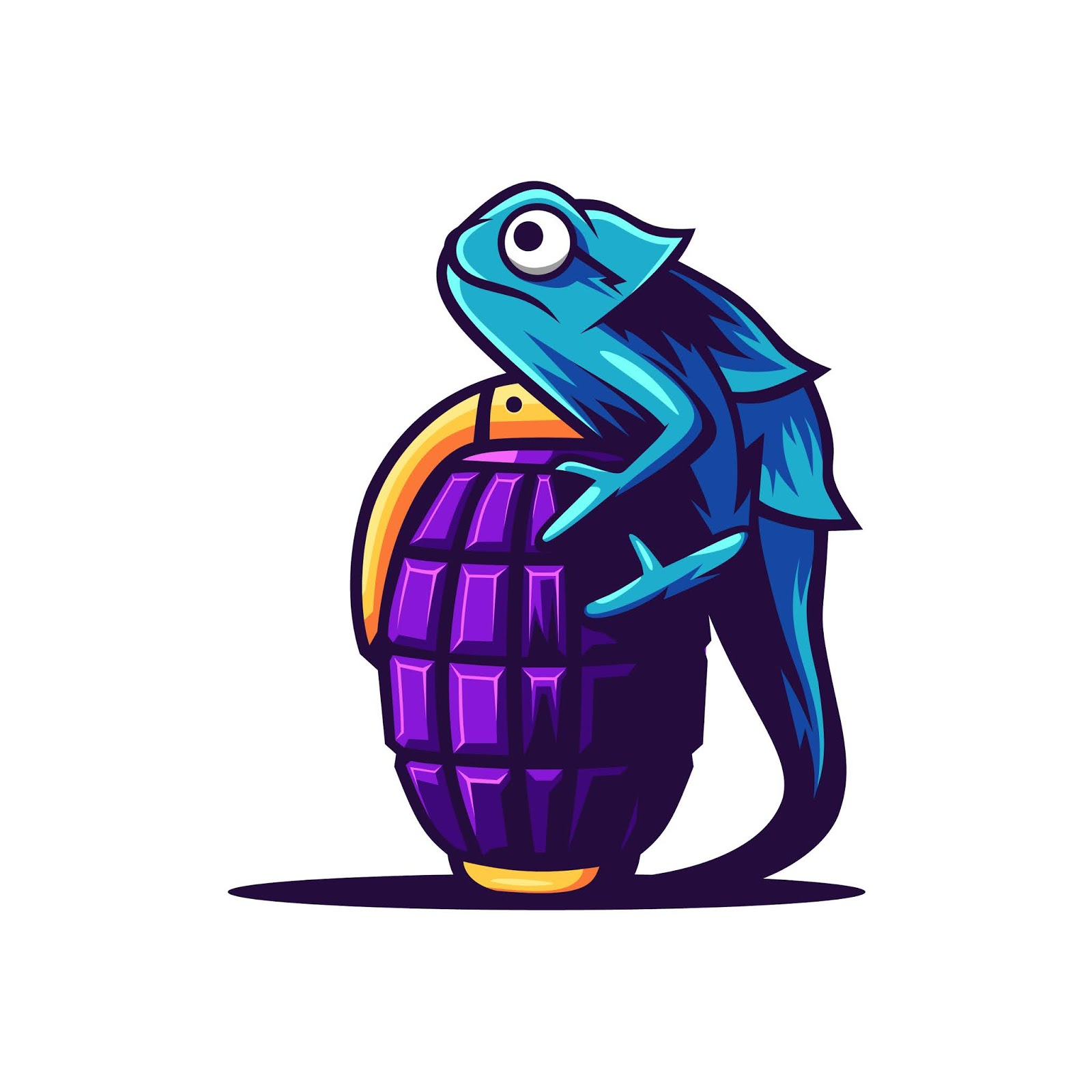 Coloful Chameleon With Grenade Illustration Free Download Vector CDR, AI, EPS and PNG Formats