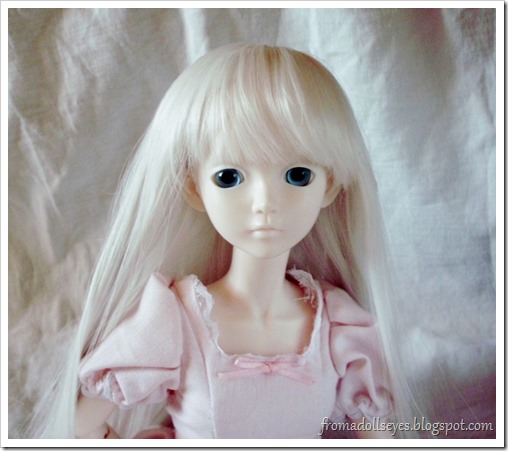 Ball Jointed Doll Wearing a Balloon Wig Cap Under Her Wig