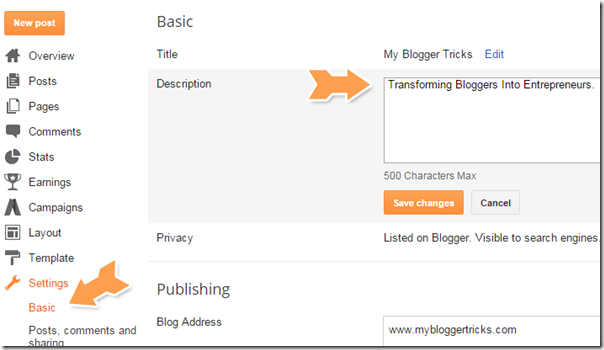 blogspot description box