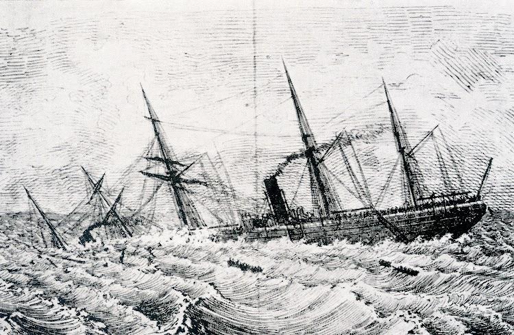 El naufragio del GIJON segun un dibujo de El Fomento de la Marina. Foto del libro Capitanes de Cantabria.jpg