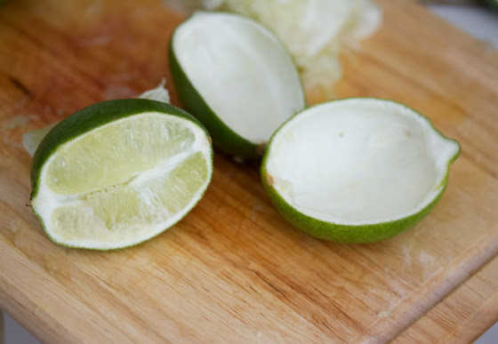 process photo showing how to prep the limes for the jello shots