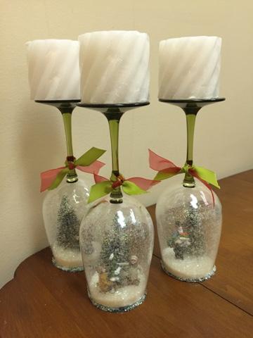 how to make wine glass snow globes
