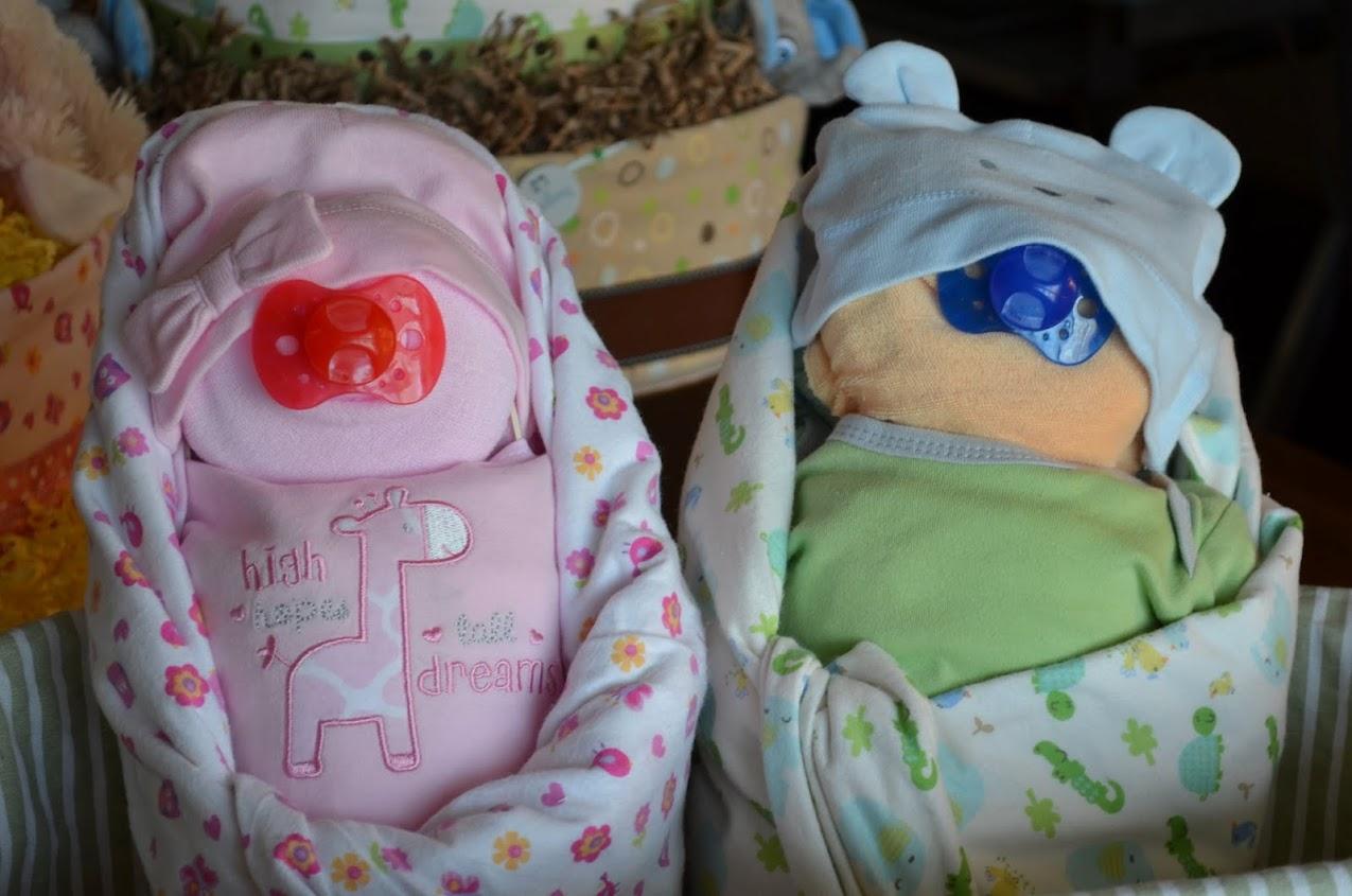 Twins diaper babies