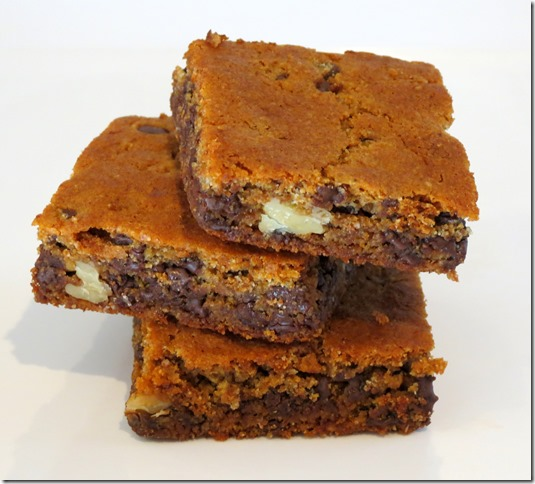 Grain Free Chocolate Chip Walnut Blondies