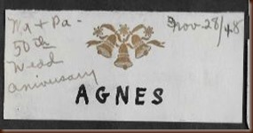 King George Sarah Agnes name tag