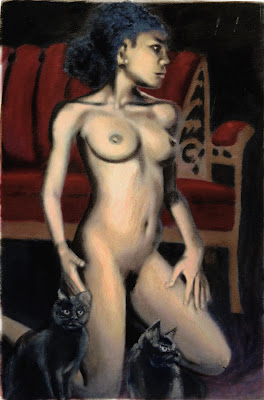 Fine art original painting: FEMALE NUDE, WOMAN KNEELING WITH CATS