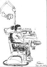 Photo: 看診二2010.12.22鋼筆 牙科和耳鼻喉科都在同一個診間看,看病的人坐在椅子上那忐忑的表情,不禁讓我想起了電影裡的電椅…