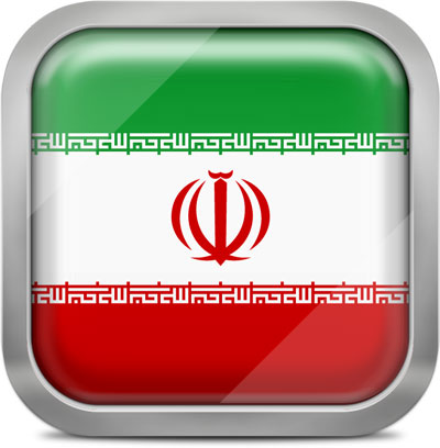 Iran square flag with metallic frame