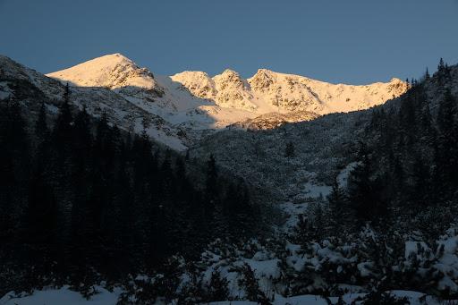 Hrubá kopa a Tri kopy pred západom slnka