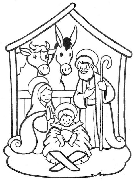 coloring pages of nativity scene - photo#17