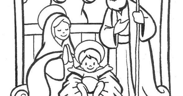 為孩子們的著色頁: 耶穌誕生的場景著色頁