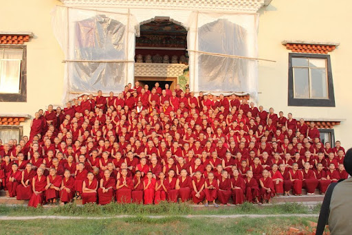 Khachoe Ghakyil nuns with Lama Zopa Rinopche, Nepal, May 2012. Photo by Ven. Roger Kunsang.