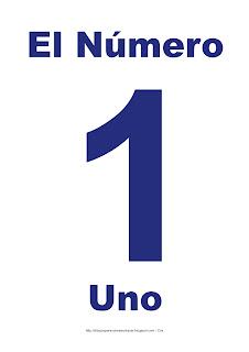 Lámina para imprimir el número uno en color Azul