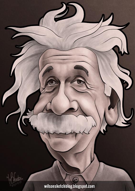 Caricature of Albert Einstein.