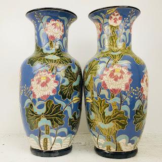 Floral Ceramic Floor Vase Pair