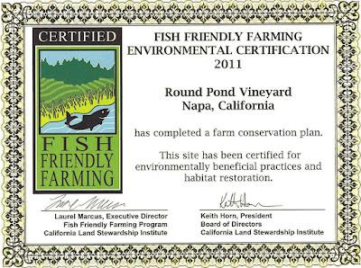 Round Pond Vineyard Fish Friendly Farming Certificate