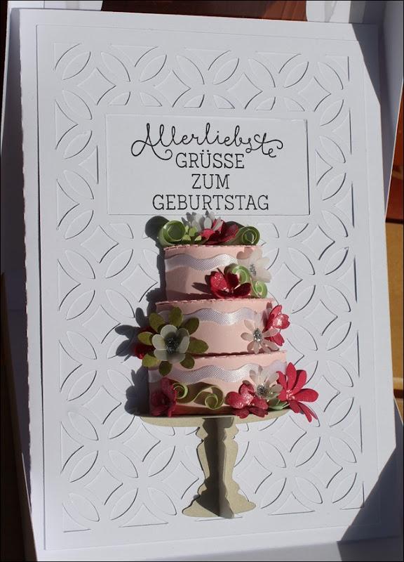 3D Cake Torte Hochzeit Geburtstag Wedding Birthday Quilling Flowers Card Karte 4