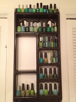 The shelves of green nail polish hoarding.