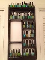 The shelves of green nail polish hoarding.