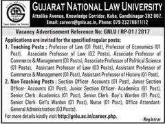 GNLU Careers 2017 indgovtjobs