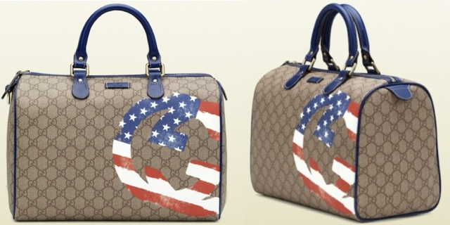 02bfcccf44e38 Rihanna accessorized with a bag from Gucci. This limited edition Boston Bag  is from their Flag Collection. This bag features the USA flag printed  inside of ...