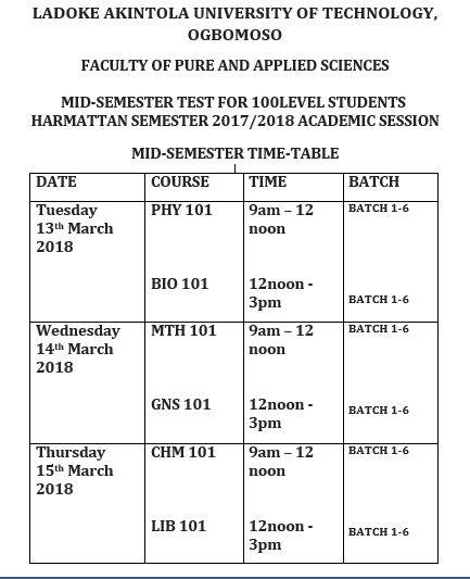 LAUTECH Mid-Semester Test Timetable & Sitting Arrangement for 100 Level – 2017/2018 Is Out