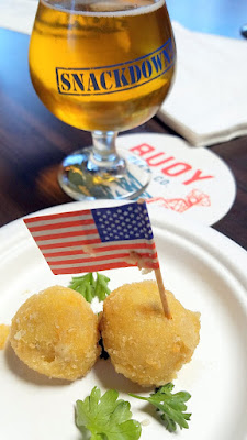 Snackdown 2016 Biwa gave a special nod toward's Buoy's coastal origins by creating Clam Chowder Croquettes while chef Gabe Rosen hilariously posed as Bernie / Buoy Beer poured Rice Rice Baby, a wild rice blond ale using wild rice from Minnesota with rye malt to make a nutty blond that is reminiscent of a saison